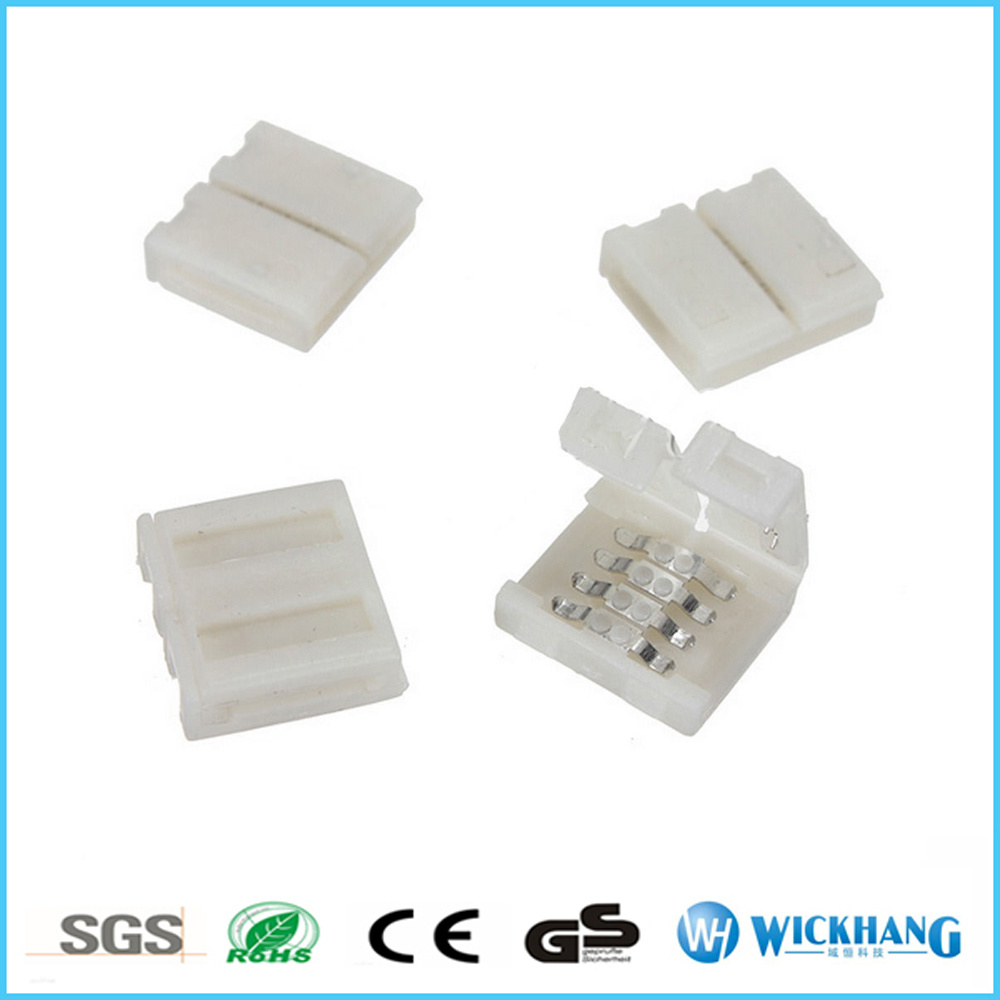 Solderless Clip-on Coupler Connector 4pin RGB for 5050 LED Strip Light