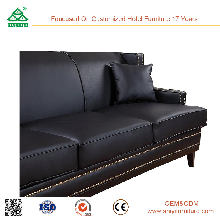 Modern Furniture Living Room Furniture Black 3 Seater Leather Sofa