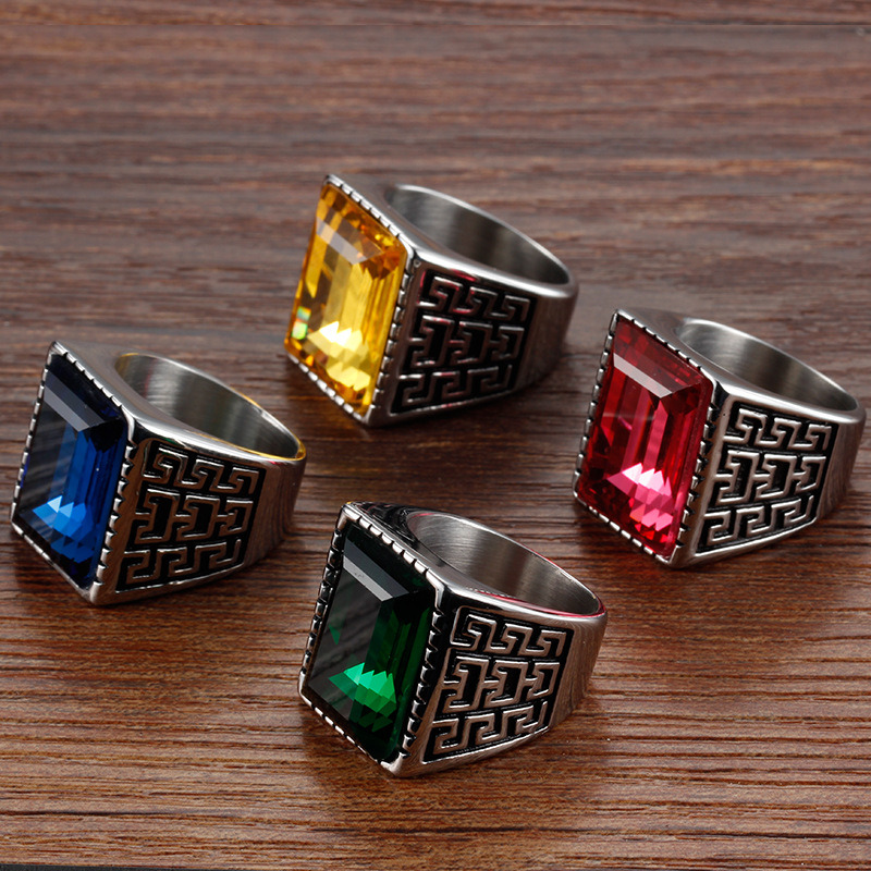 Anti Rust Engraved Titanium Stainless Steel Fashion Designer Man Rings Jewelry