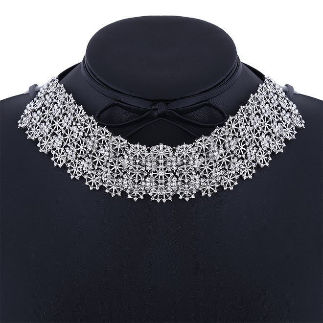 Fashion PU Leather Bow Full Rhinestone Glittering Flower Diamond Collar Choker Necklace Jewelry
