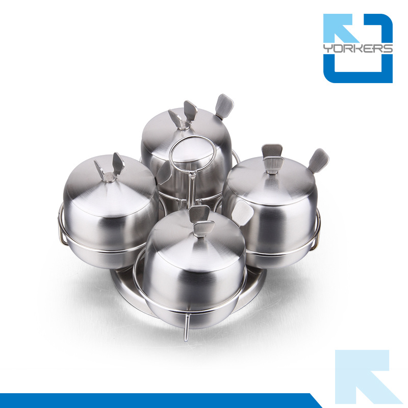 Rotary 4 Pieces Stainless Steel Spice Container and Salt & Black Pepper Jar with Stable Rack