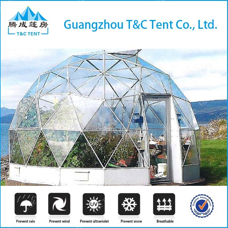 Outdoor Aluminum Structure White PVC Geodesic Dome Tent for Camping