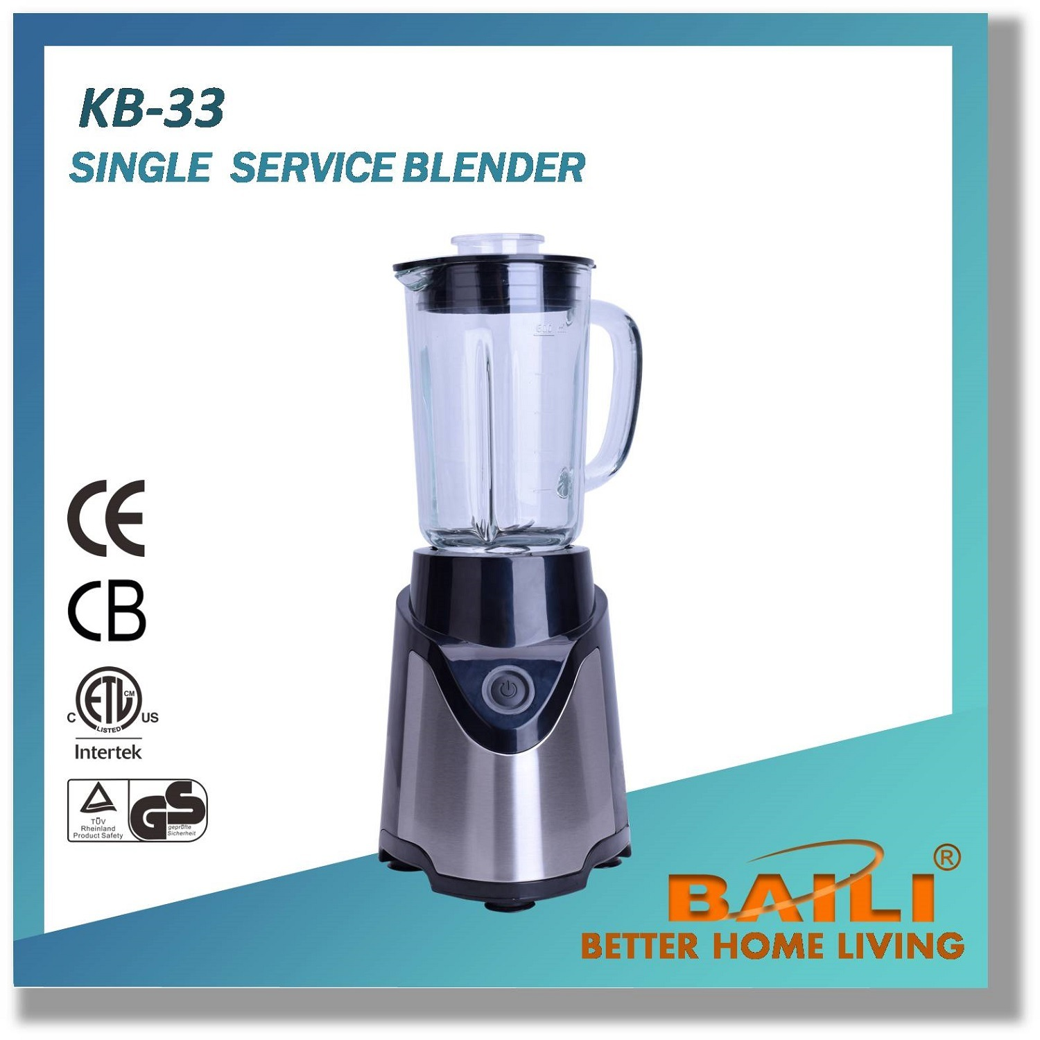 Countertop Electric Blender with Glass Jar