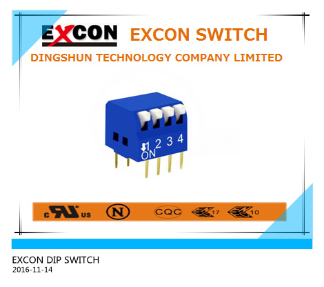 Blue Color DIP Slide Type Switch 4 Position 4 Pin