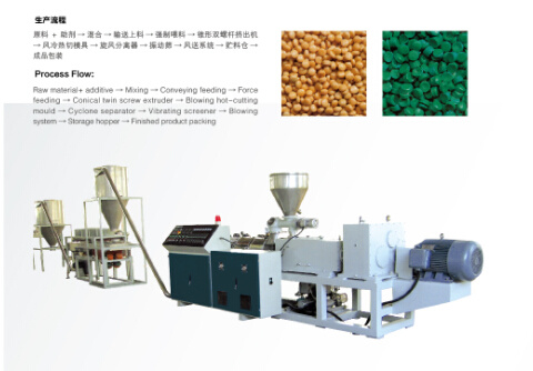 PVC Conical Double Screw Hot Cutting Granulating Machine