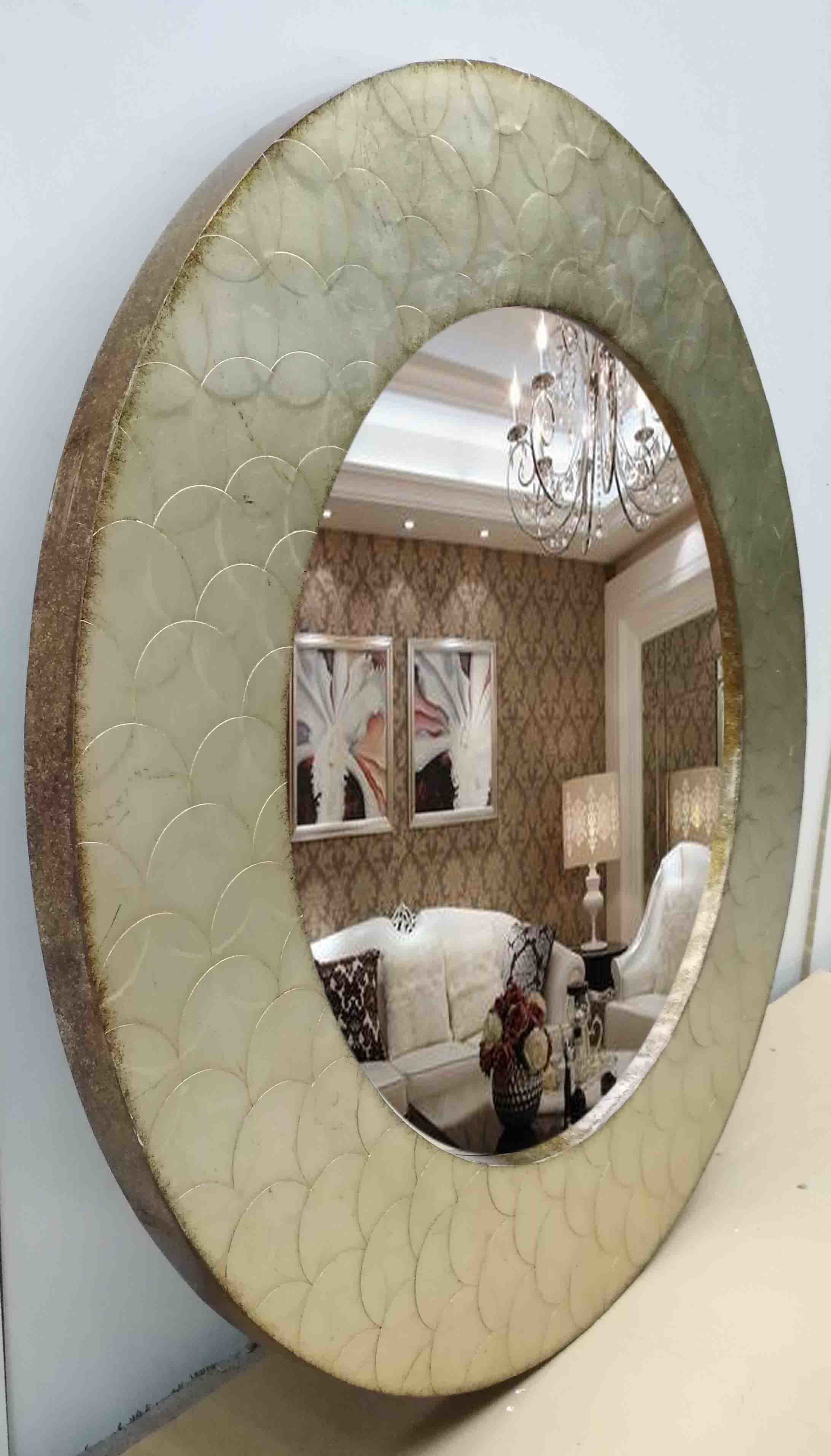 Round Handmade Leaf Mirror Wall Mirror for Home Decoration