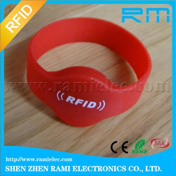 125kHz&13.56MHz Smart RFID NFC Silicone Wristband/Bracelet with Printing