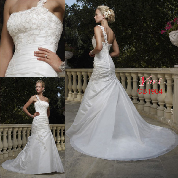 Charming OneShoulder Hot Wedding Gown CB1984