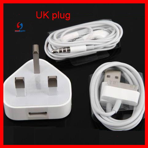 UK Version Plug USB Charger with Earphone for iPhone4/4s