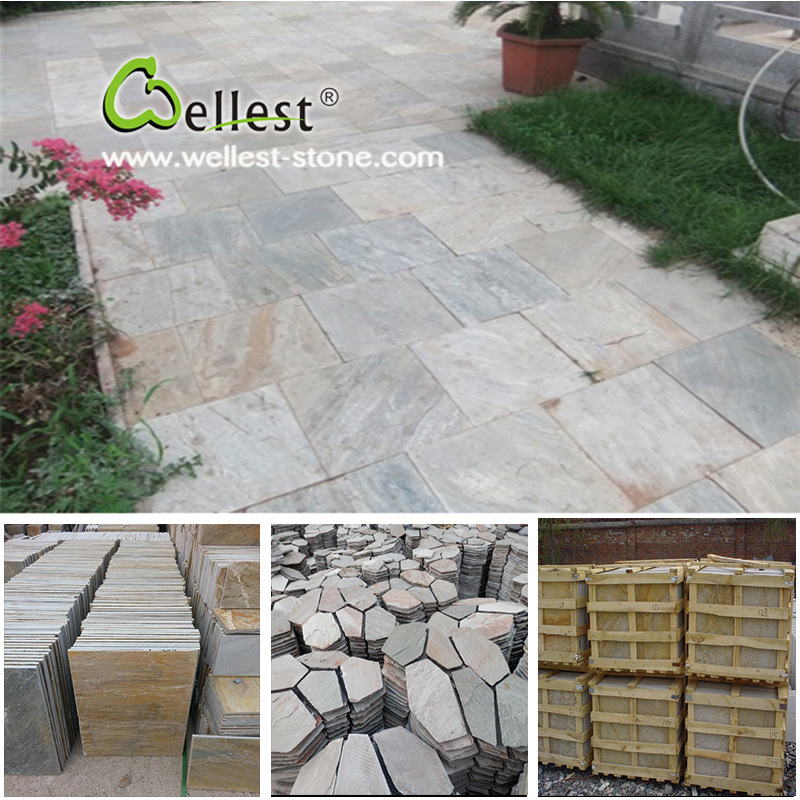 Natural Stone Yellow/Green/Grey/Rustic/Black Quartzite Slate for Paving/Floor/Wall Cladding