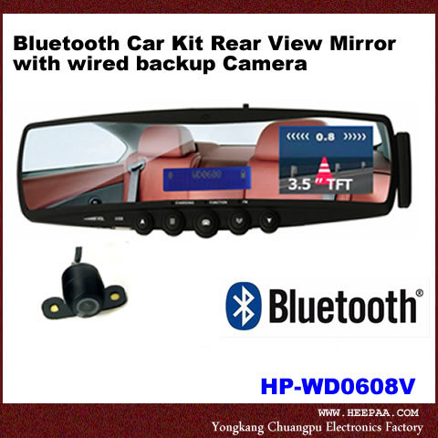 china bluetooth car kit rear view mirror with wired backup camera hp wd0608v china rear view. Black Bedroom Furniture Sets. Home Design Ideas