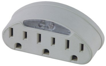 3 Outlet Adapter with Night Light