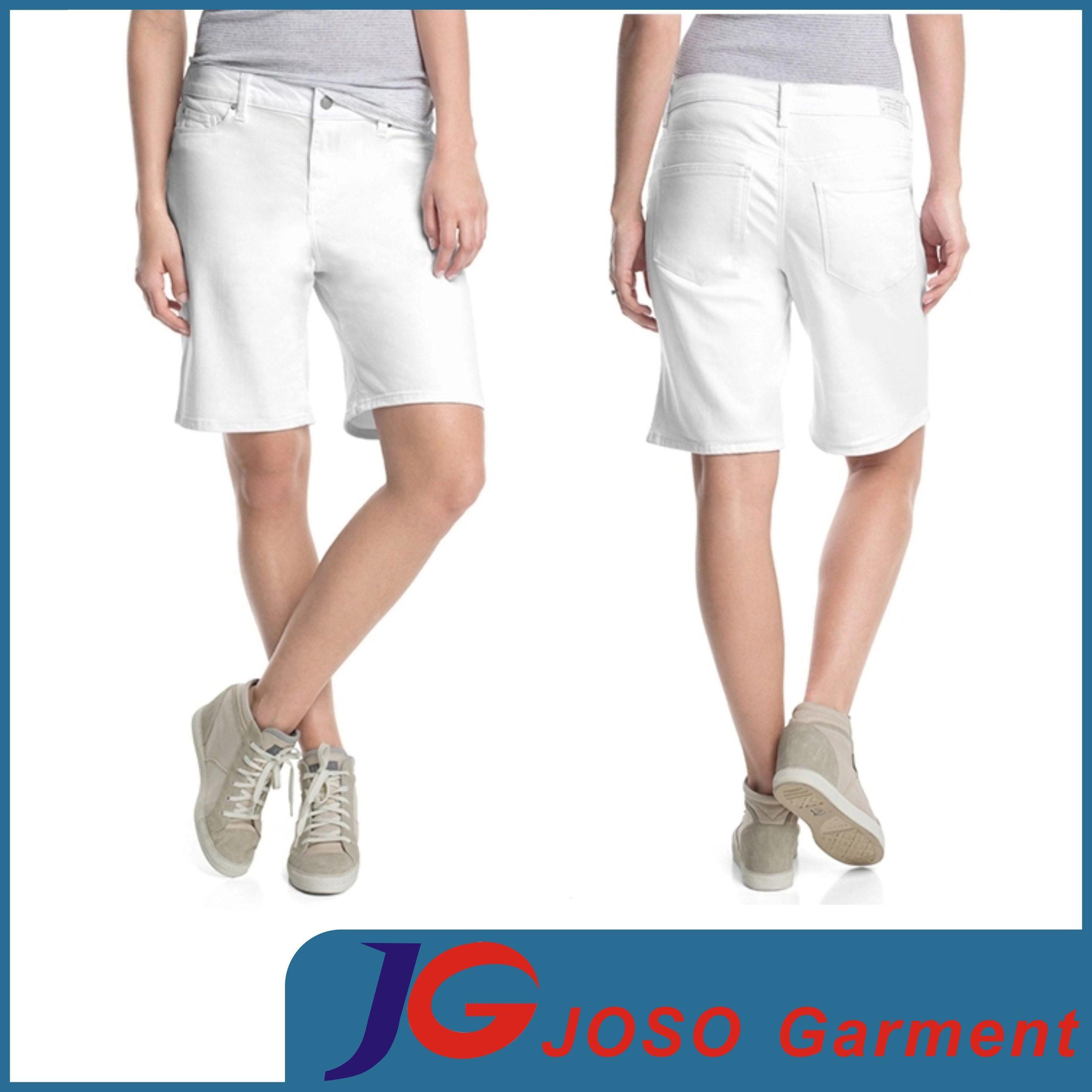 Women White Bermuda Shorts (JC6080)