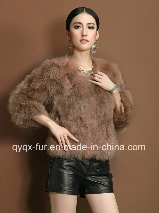 Women′s Winter Warm Short Style 100% Genuine Fox Fur Coat