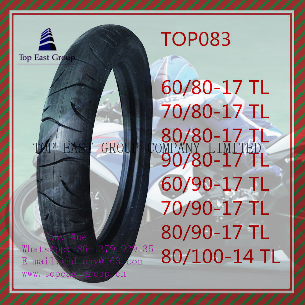 New 6pr Nylon Motorcycle Tyre with 60/80-17tl