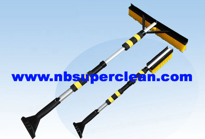 Rotating Snow Brush with Scraper with Aluminum Handle, Snow Cleaning Brush with Ice Scraper, Snow Cleaning Brush (CN2298)