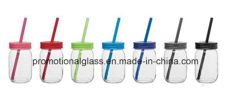 Sublimation16oz Drinking Glass Mason Jar with Colored Lid and Straw