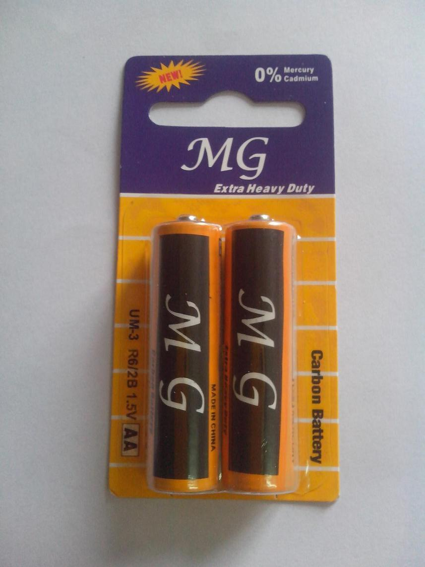 R6p AA 1.5V Extra Heavy Duty Carbon Zinc Dry Cell Battery 2PCS in Card Pack (MG) (R6 AAA UM4)