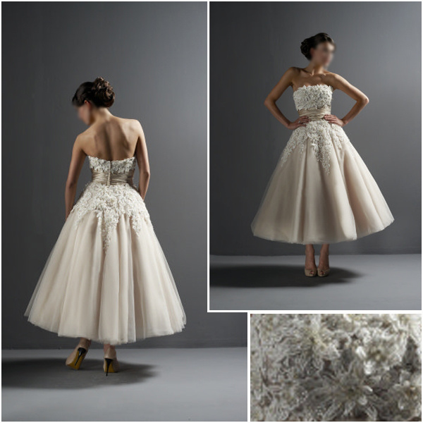 China two pieces lace wedding dress a line short bridal for Lace ankle length wedding dress