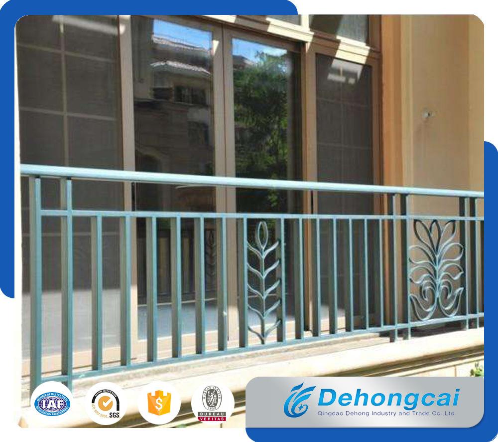 Exterior Aluminium Balcony Balustrade / Decorative Galvanized Wrought Iron Balcony Railing