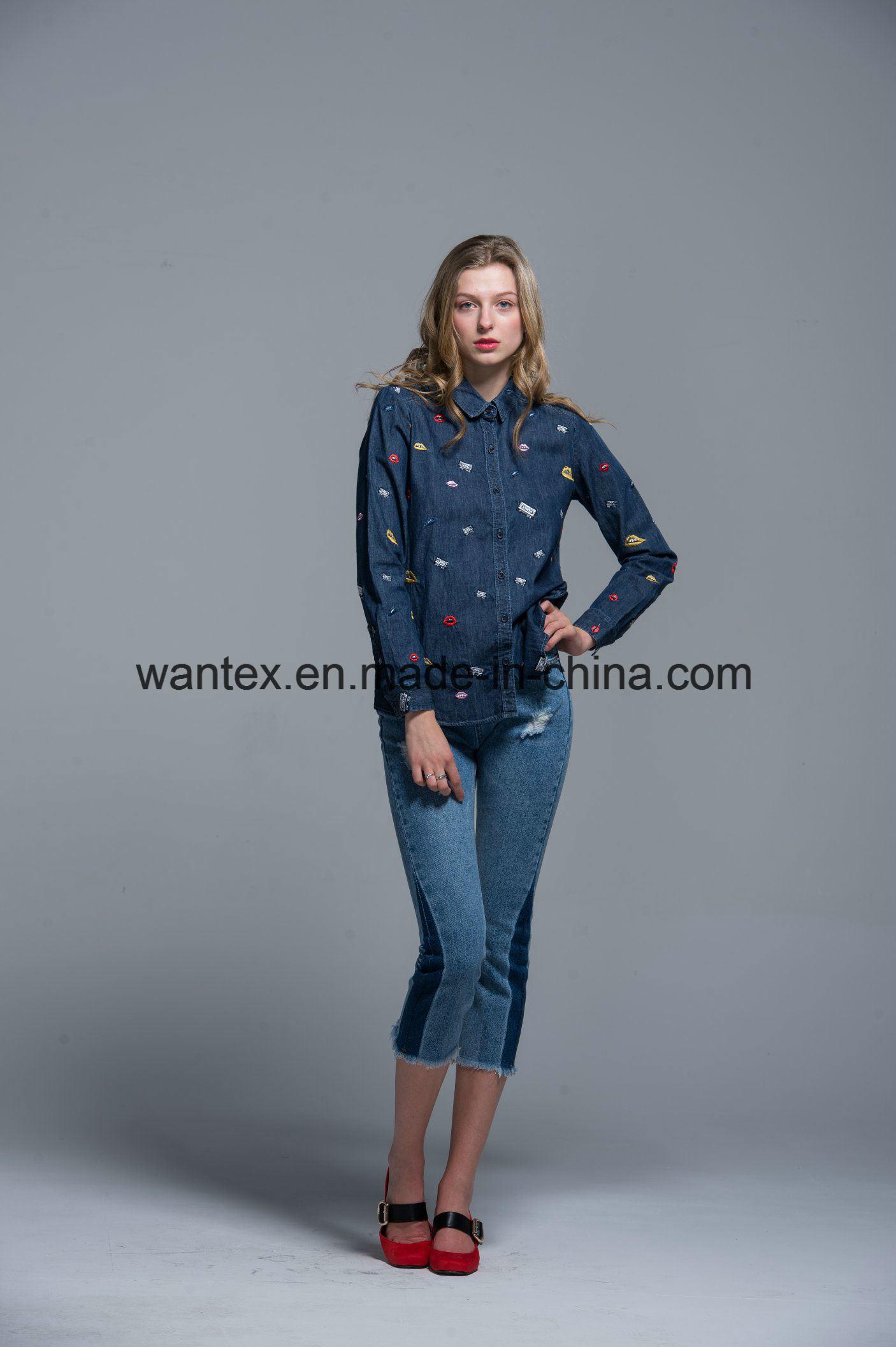 Ladies Blouse 100% Cotton Fashion Shirt Fashion Top Autumn Spring Jean