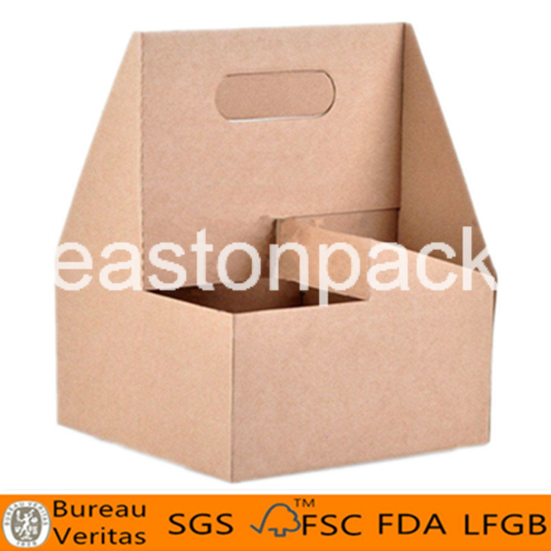 Disposable Take Away Portable 4-Cup Kraft Paper Coffee Cup Holder