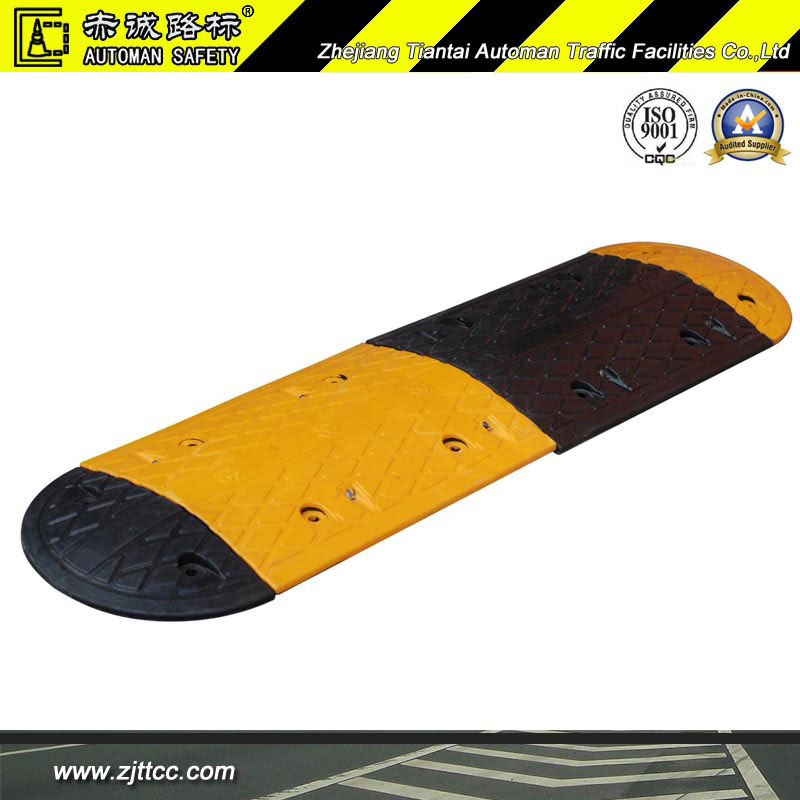 Yellow & Black Industrial Rubber Car Safety Speed Bump (CC-B02)