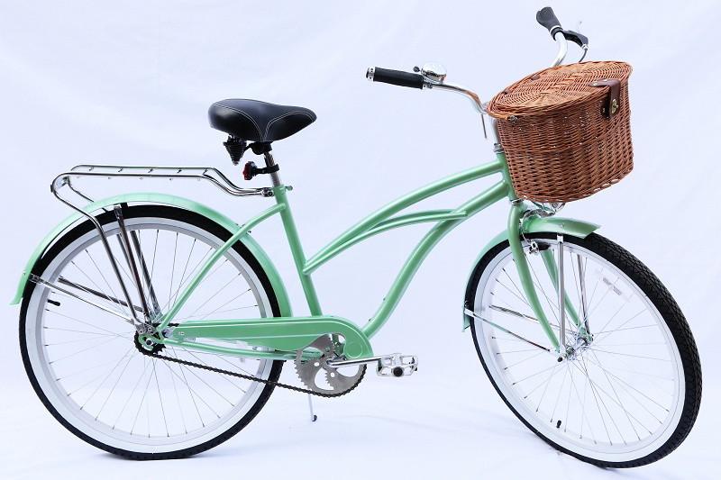 Cane Basket Carrier Hi-Ten Coaster Brake 26 Inch Beach Cruiser Bike for Lady (ARS-2684S-2)
