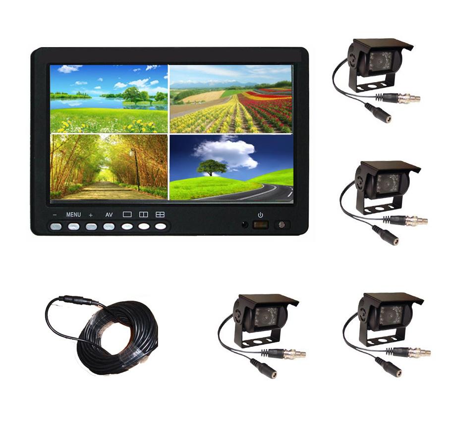 7inch Split Quad LCD Monitor Rear View Camera System