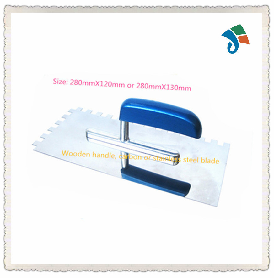 Notched Wooden Handle Stainless Steel Palstering Tile Trowel