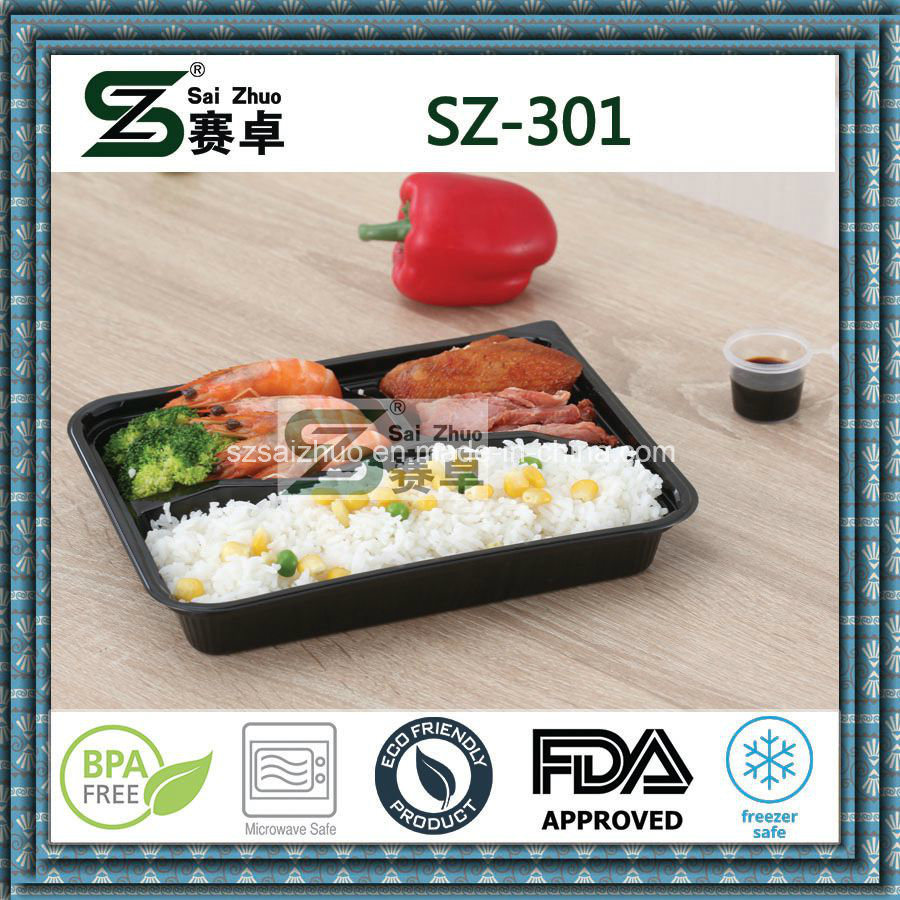 3 Compartment PS Disposable Food Container with Dome Lid
