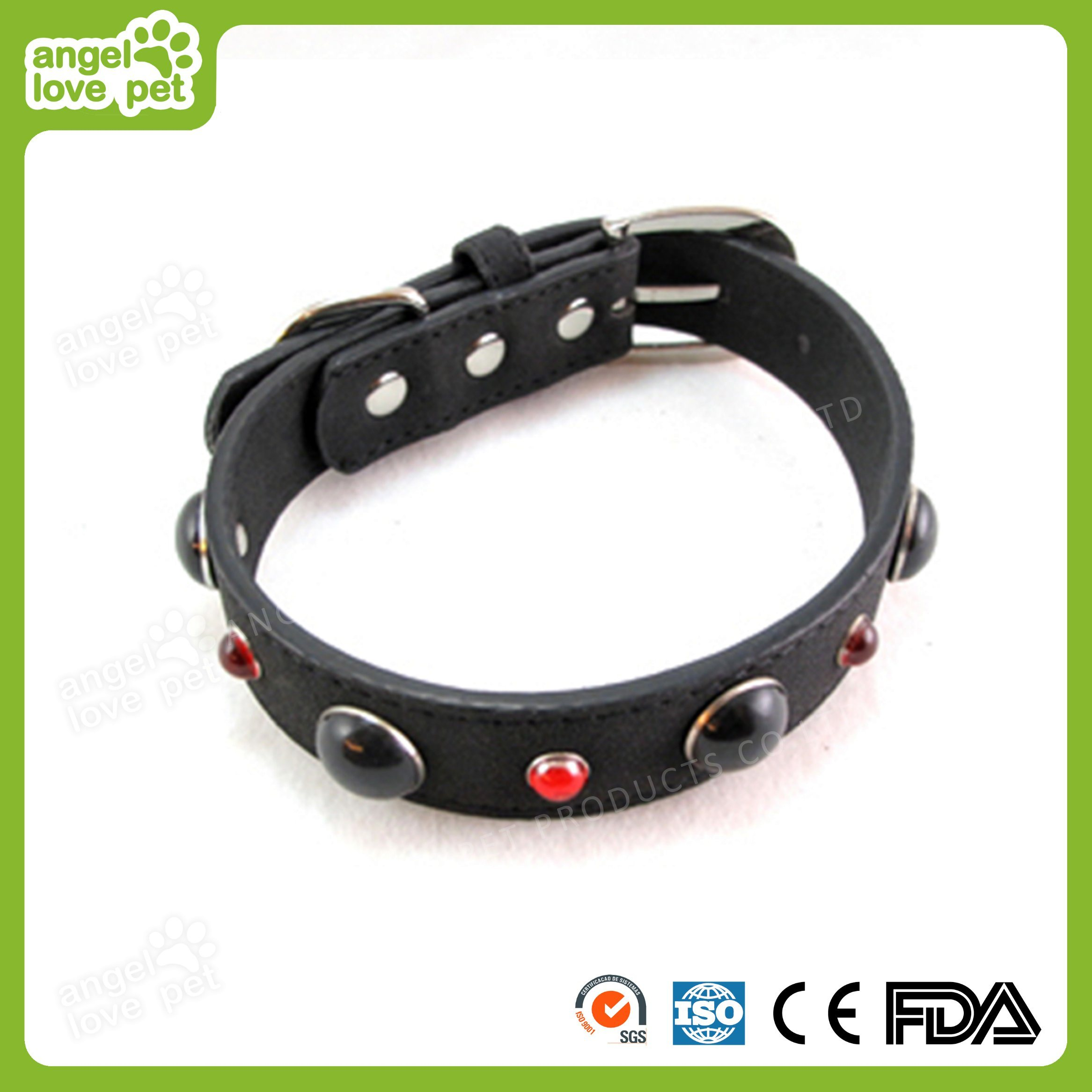 High Quality Leather with Samll Decorative Jewelry Dog Collar, Pet Product