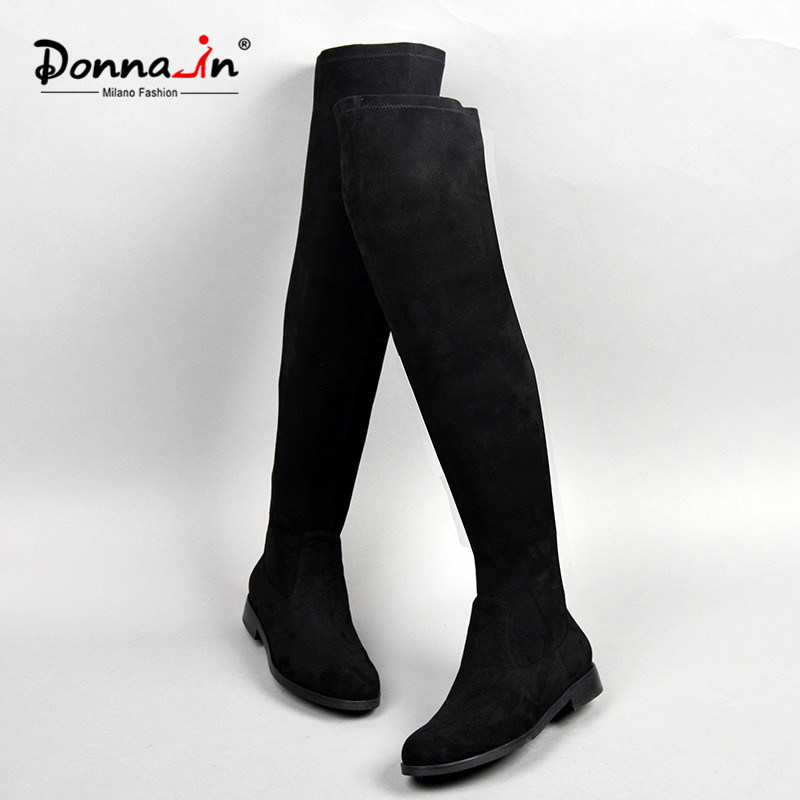 2017 Casual Lady Elastic Microfiber Shoes Over-Knee Flats Women Boots