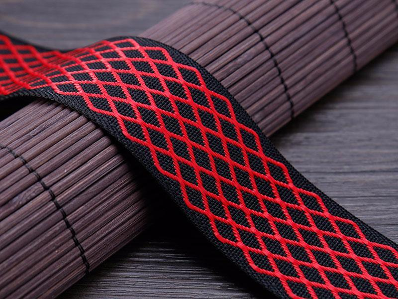 Hot Belt Black and Red Lattice Nylon Polyester Jacquard Bag Strap Webbing