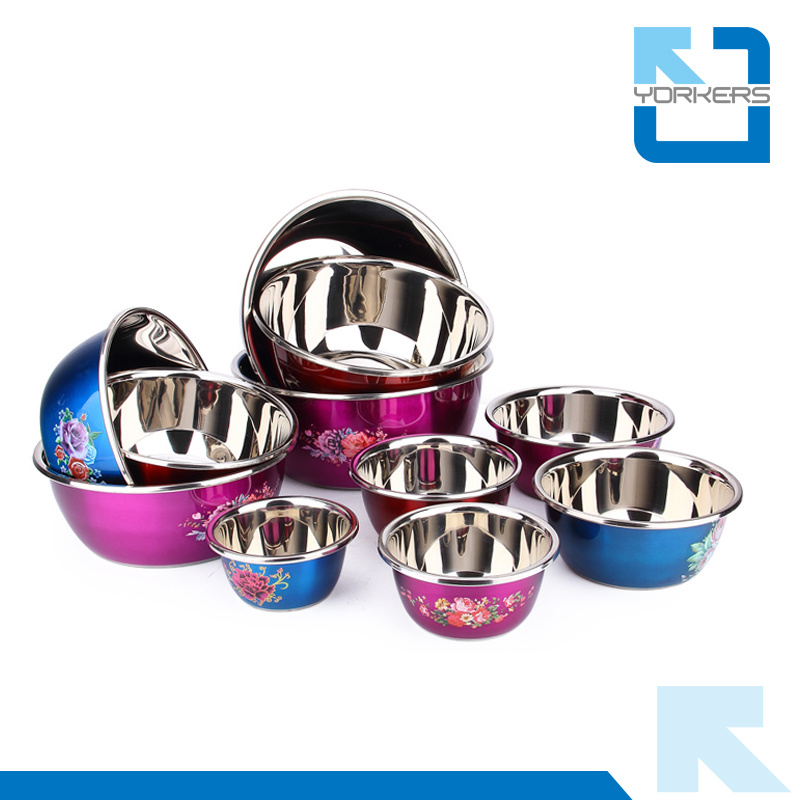 SGS Multi-Size Polychrome Stainless Steel Salad Bowl Mixing Bowl Set