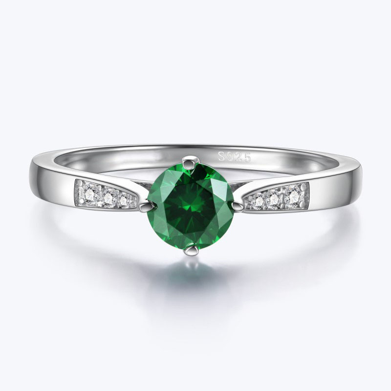 Fashion 925 Silver Ring with Green Cubic Zircon