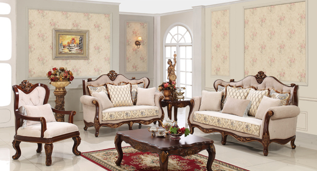 Classic Fabric Sofa with Wood for Living Room Furniture Set
