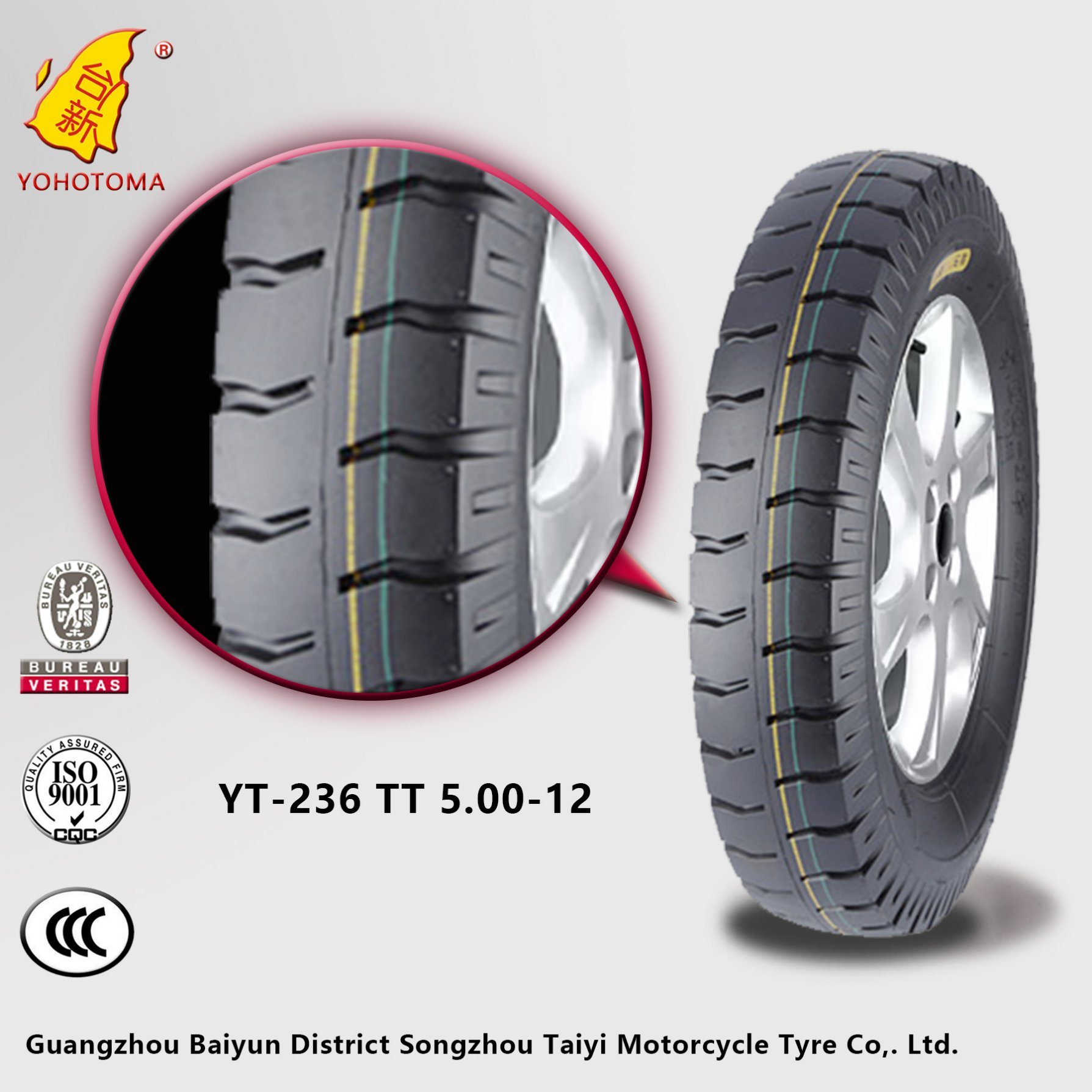 High Quality Tricycle Tyre for Africa Market (YT3) 500-12 Yt-236 Tt