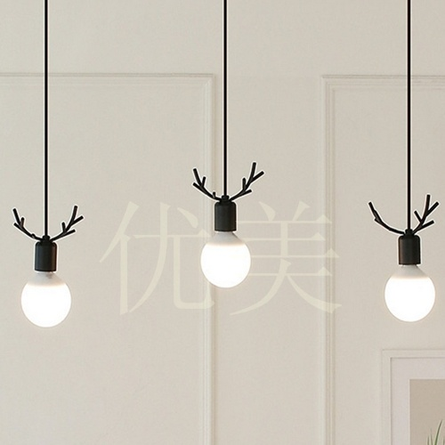 Modern Korean Droplight Individuality Creative Dining-Room Lamp, Wrought Iron Antlers Porch Balcony Study Decorative LED Lamps