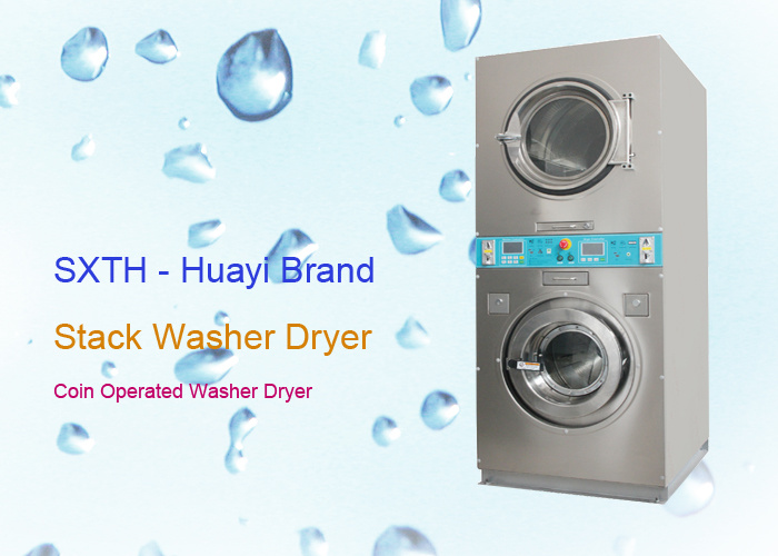 Coin Operated Stack Washer Dryer Commercial Laundry Machine for Self Laundry Shop
