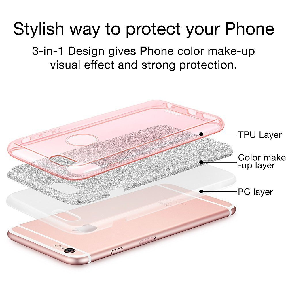 Luxury Bling Hybrid Armor Slim Drop Protection Back Cover Shinning Clear TPU Bumper Bling Crystal Glitter Case for iPhone 7