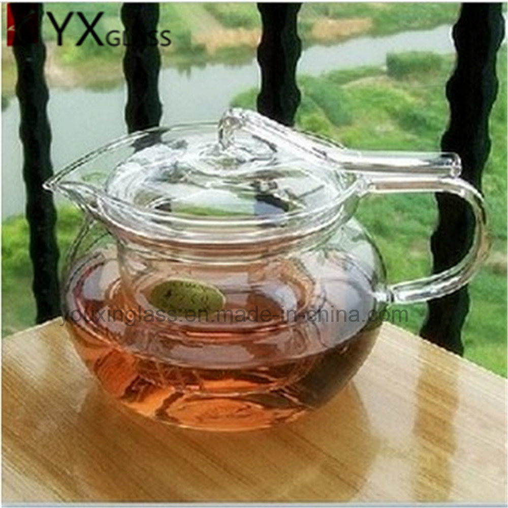 2016 Hot-Selling High Borosilicate Fire Resisitant Clear Glass Teapot Flower Booming Tea Kettle Hand Blow Glass Tea Coffee Sets