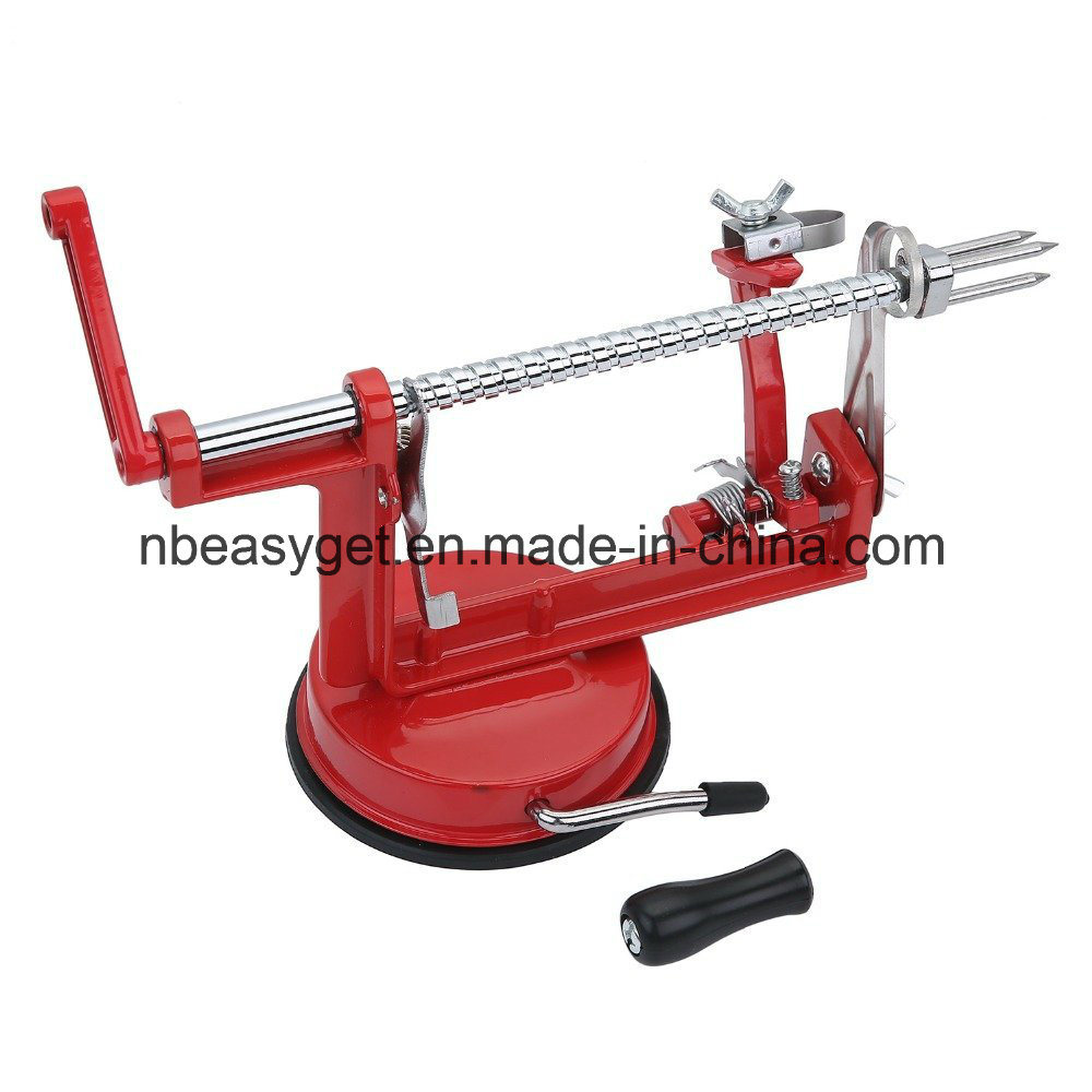 Apple Peeler Corer Slicer Machine with Vacuum Suction Base - Cast Iron Rotating Spiralizer Apple Peeler for Countertop with Stainless Steel Blades Esg10159