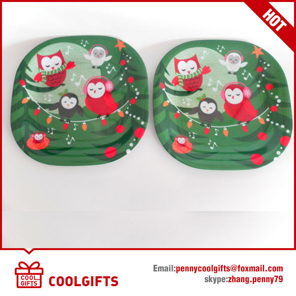 8 Inch Round Christmas 100% Melamine Dish, Food Grade Plate