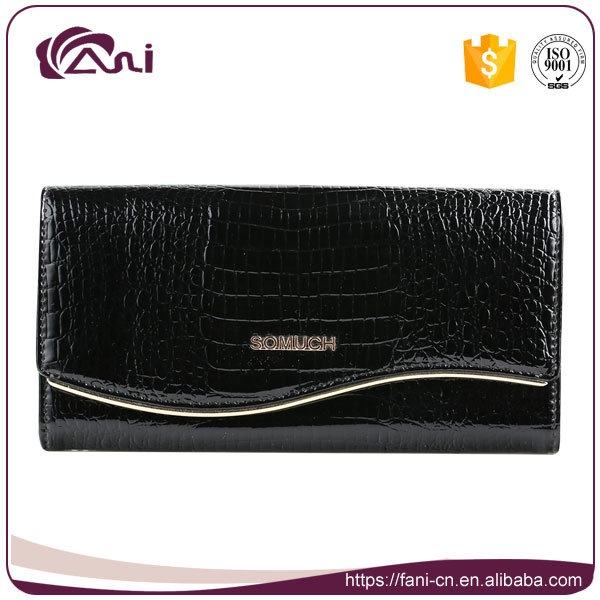 Black Crocodile Grain Metal Frame Clutch Wallet, Woman Genuine Leather Wallet High Quality