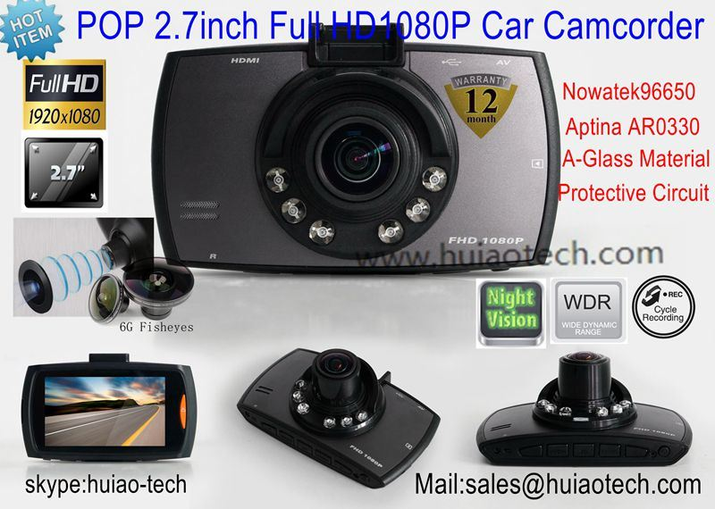 """Hot 2.7"""" Full HD 1080P Car Video Camcorder with HDMI out, AV-out Function Car DVR-2710"""