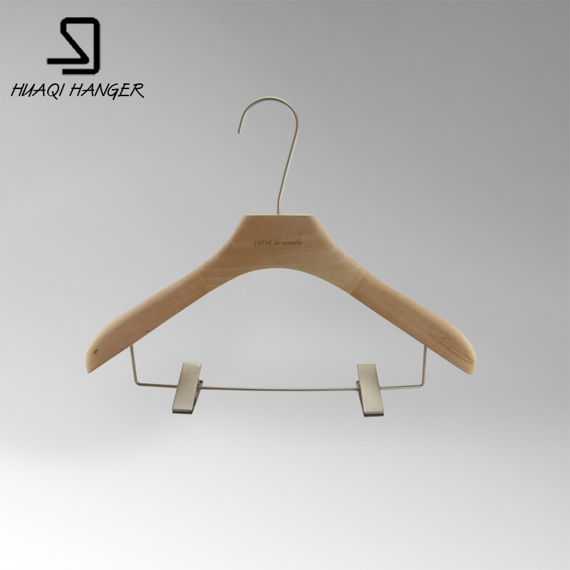 Beech Wooden Clothes Hanger with Two Clips for Men and Women