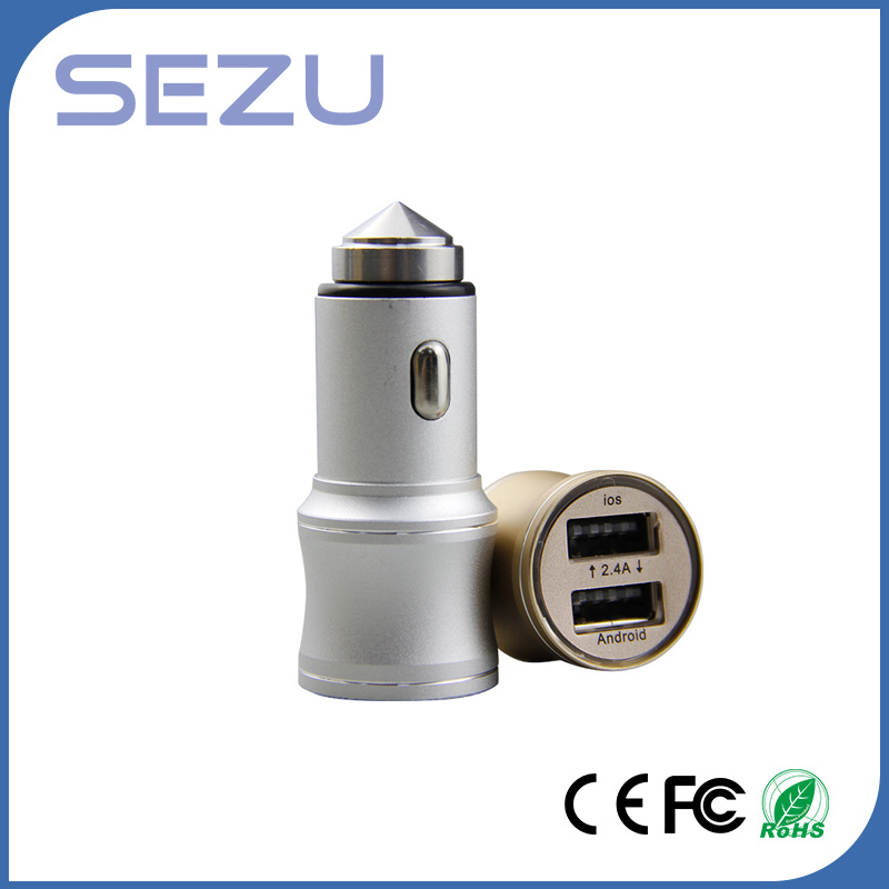 2 in 1 Dual USB Portable Car Charger with Metal Safety Hammer for iPhone and Samsung