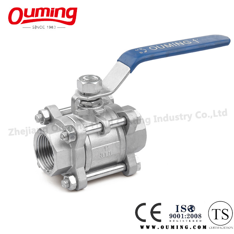 3PC Stainless Steel Screwed End Ball Valve with Handle