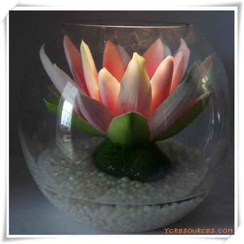 Peony LED Artificial Flowers with Glass Cup for Promotion